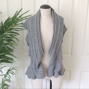 Vintage Suzie XL Gray Waterfall Sweater Vest